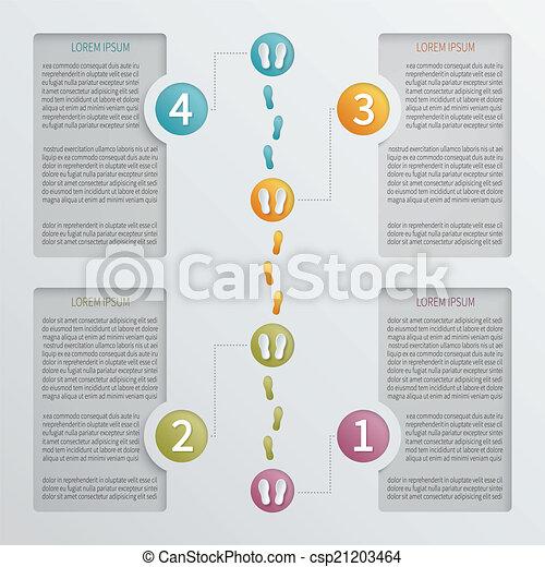 ベクトル, 4, infographic, ステップ, 穴があいた, template. - csp21203464