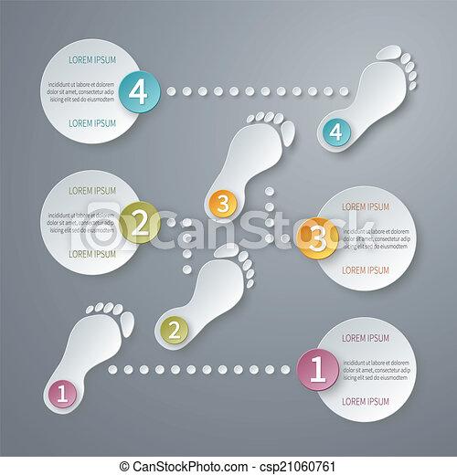 ベクトル, 4, infographic, ステップ, template., 3d - csp21060761