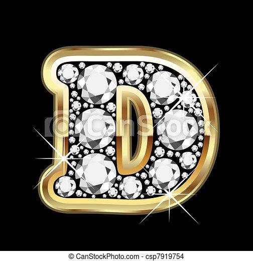 ベクトル, bling, d, 金, ダイヤモンド - csp7919754