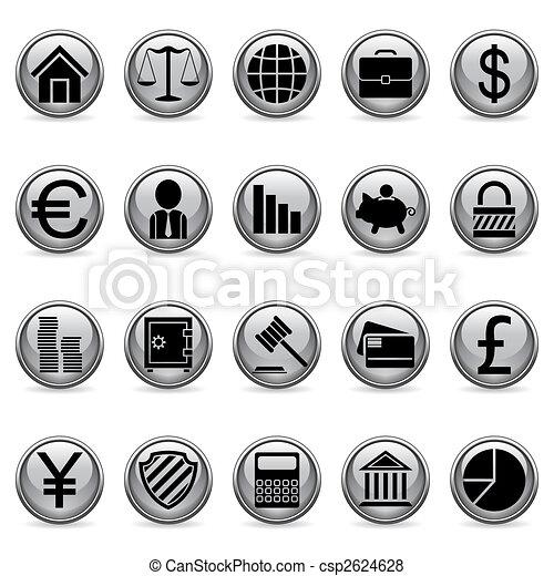 ベクトル, buttons., 金融, ビジネス - csp2624628