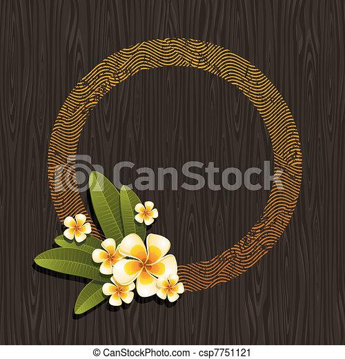 ベクトル, &, frangipani, 抽象的, -, イラスト, ラウンド, トロピカル, 木, 黒い背景, 花, フレーム - csp7751121