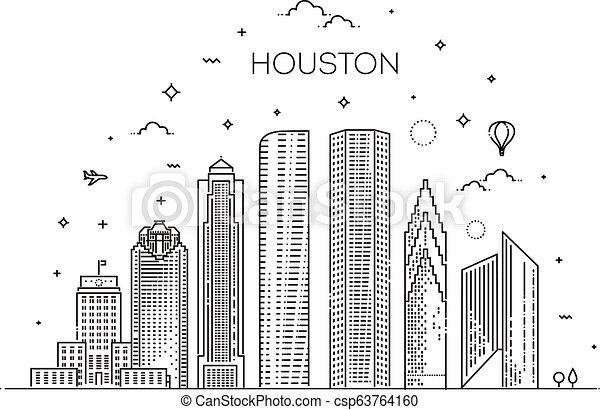 ベクトル, houston, イラスト, テキサス, style., 合併した, 都市, 州, 線である, スカイライン - csp63764160