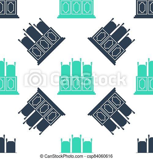 ベクトル, icon., テーブル, 白, 隔離された, バックグラウンド。, 緑, seamless, パターン, 椅子, 部屋, court's, アイコン - csp84060616