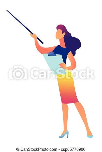 ベクトル, illustration., 女性実業家, クリップボード, 保有物, ポインター, ショー - csp65770900