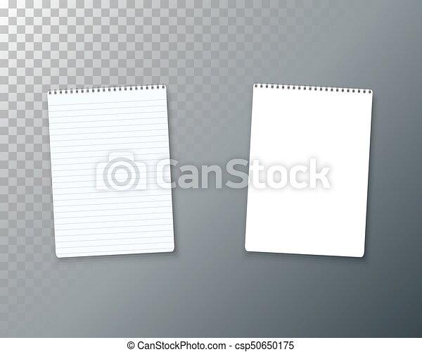 ベクトル, mockup, set., メモ用紙, らせん状に動きなさい, 現実的, ノート, 開いた, template., 空 - csp50650175