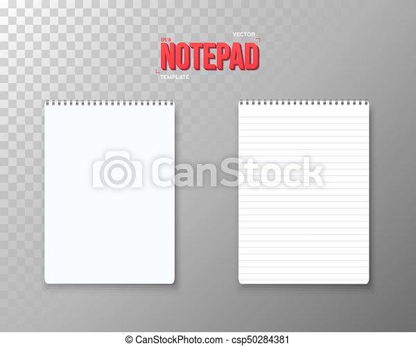 ベクトル, mockup, set., メモ用紙, らせん状に動きなさい, 現実的, ノート, 開いた, template., 空 - csp50284381