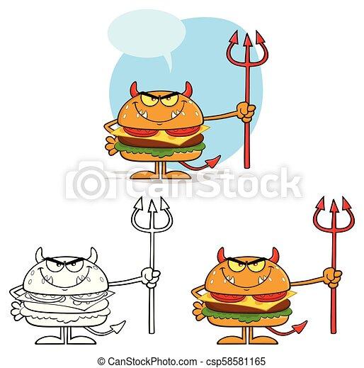 ベクトル, trident., 悪魔, 特徴, コレクション, バーガー, セット, 保有物, 漫画 - csp58581165