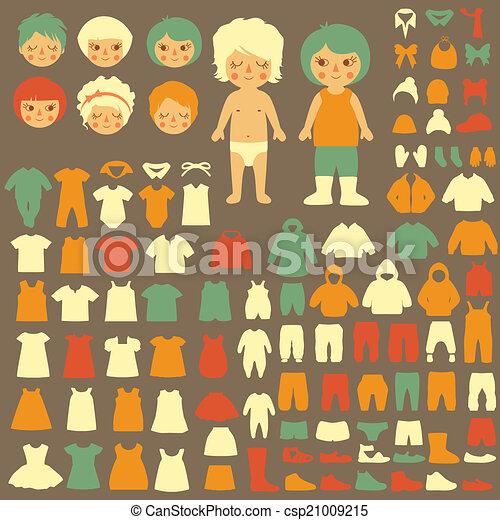 ベビー衣類, シルエット - csp21009215
