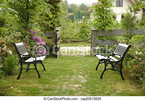 ベンチ, 2, 庭 - csp20515629