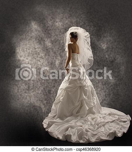 ベール, ファッション, 美しさ, 花嫁, 折り畳める, 上に, 背中, 長い間, かけられた, 布, 肖像画, 結婚式, bridal, 見る, 服, 肩, 後部光景 - csp46368920