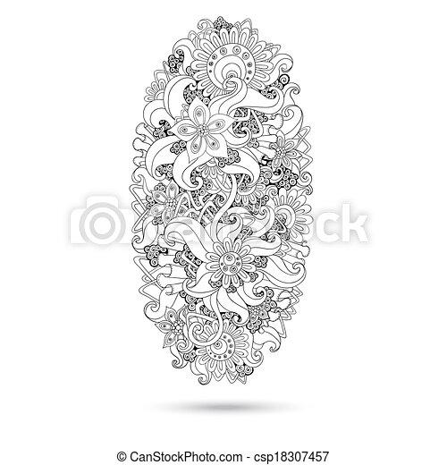 ペイズリー織, henna, デザイン, mehndi, doodles, element. - csp18307457