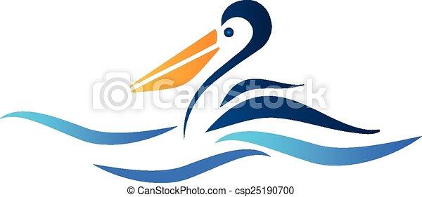 ペリカン, 鳥, ロゴ - csp25190700
