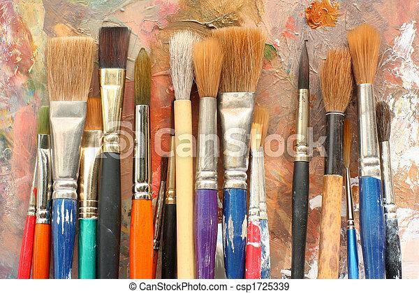 ペンキのパレット, ブラシ, 芸術, & - csp1725339