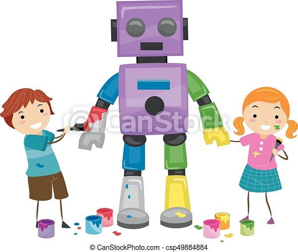 ペンキ 子供 Stickman ロボット イラスト 子供 Stickman 保有物