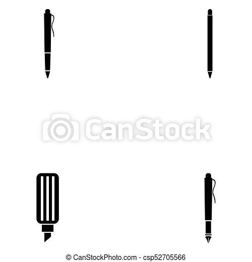 ペン, セット, アイコン - csp52705566