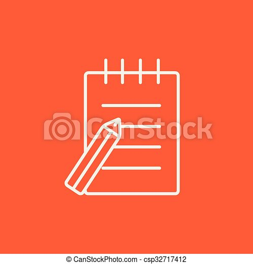 ペン, パッド, 線, icon., 執筆 - csp32717412