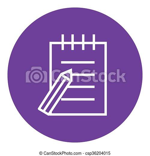 ペン, パッド, 線, icon., 執筆 - csp36204015