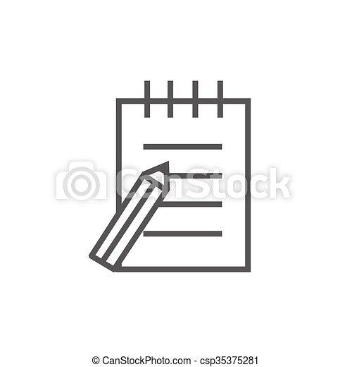 ペン, パッド, 線, icon., 執筆 - csp35375281