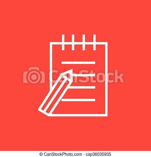 ペン, パッド, 線, icon., 執筆 - csp36035935