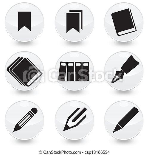 ペン, ベクトル, 本, bookmarks, アイコン - csp13186534