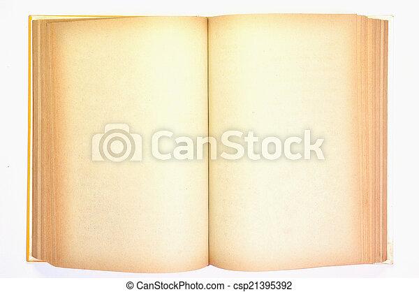 ページ, 本, 古い, 黄色, ブランク, 汚された - csp21395392