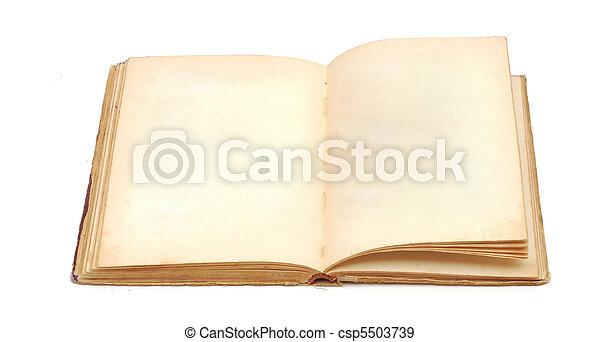ページ, 本, 古い, 黄色, ブランク, 汚された - csp5503739