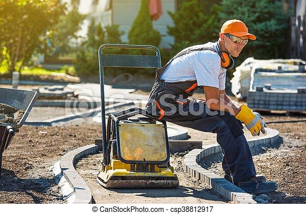 ペーバー, れんが, 労働者 - csp38812917
