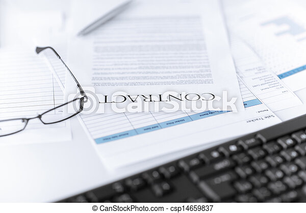 ペーパー, 署名される, 契約, ガラス - csp14659837