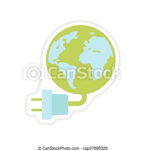 ペーパー, 背景, 地球, エネルギー, 白, ステッカー - csp37895329
