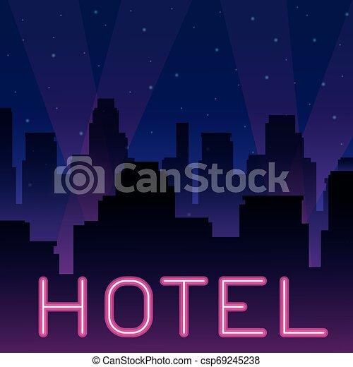 ホテル, ネオン, 広告 - csp69245238
