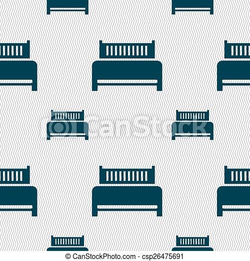 ホテル, パターン, 印。, seamless, ベッド, ベクトル, 幾何学的, texture., アイコン - csp26475691