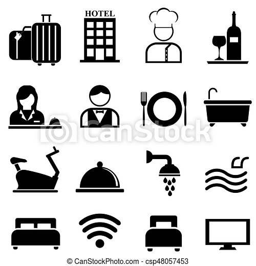 ホテル, リゾート, セット, アイコン, 厚遇 - csp48057453