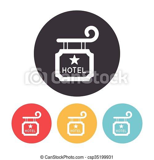 ホテル, 印, アイコン - csp35199931