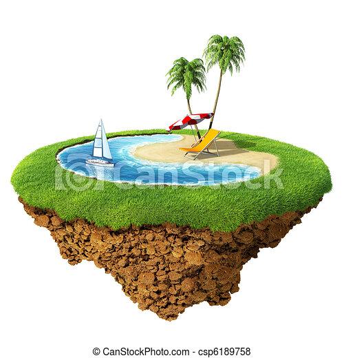ホテル, 惑星, わずかしか, 概念, エステ, 個人的, 島, planet., ごく小さい, 旅行, 休日, リゾート, /, collection., design. - csp6189758