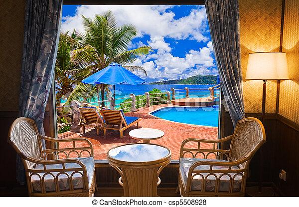 ホテル, 浜, 部屋, 風景 - csp5508928