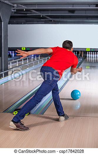 ボウリング, bawling., ball., 彼, 投げる, 若者 - csp17842028