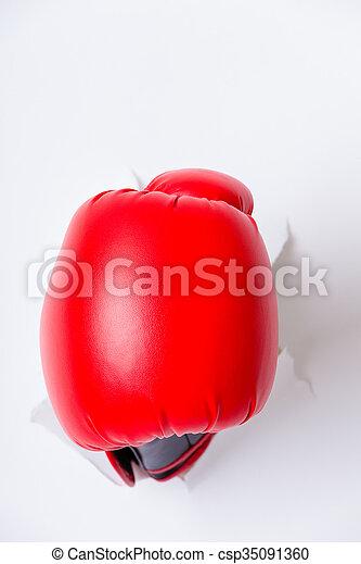 ボクシング用グラブ, 手, ペーパー, によって, 穴 - csp35091360