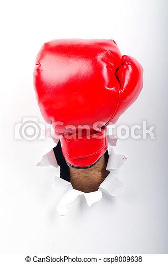 ボクシング用グラブ, 手, ペーパー, によって, 穴 - csp9009638