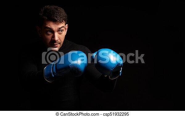ボクシング, 黒い背景, 人 - csp51932295