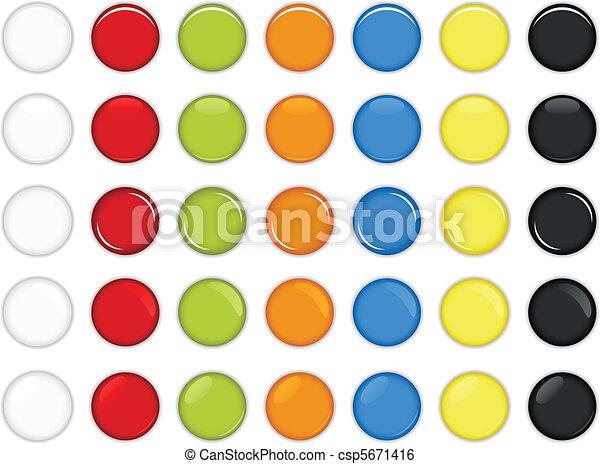 ボタン, グロッシー, カラフルである, ラウンド - csp5671416