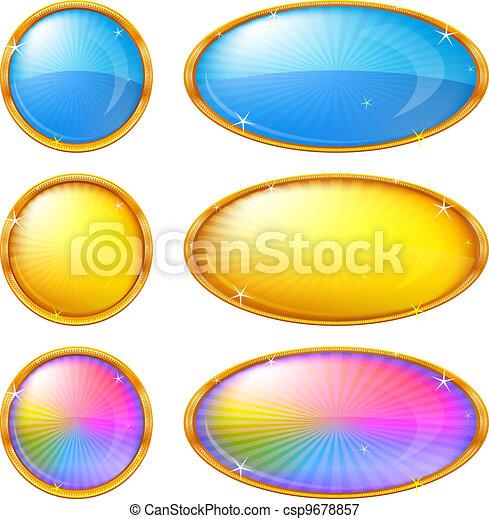 ボタン, セット, カラフルである - csp9678857