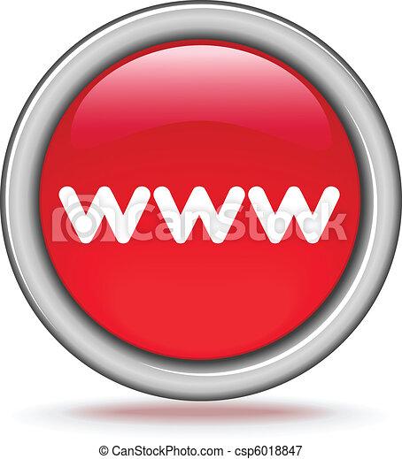 """ボタン, ラウンド, """"www"""", 赤 - csp6018847"""