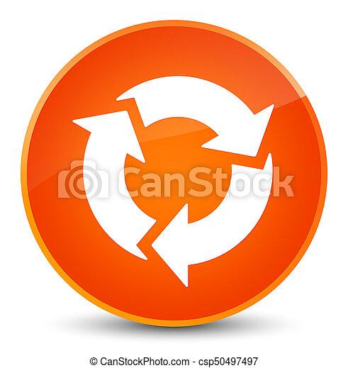 ボタン, 新たにしなさい, 優雅である, オレンジ, ラウンド, アイコン - csp50497497