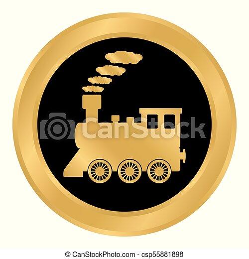 ボタン, 機関車, white. - csp55881898