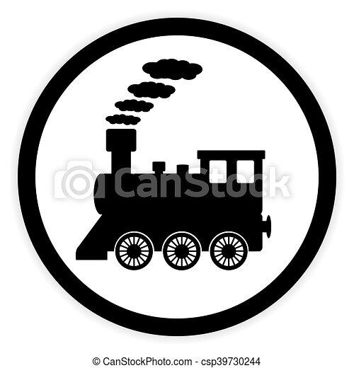 ボタン, 機関車, white. - csp39730244