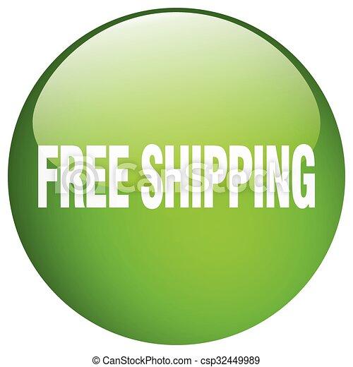 ボタン, 隔離された, 無料で, 緑, 出荷, 押し, ラウンド, ゲル - csp32449989