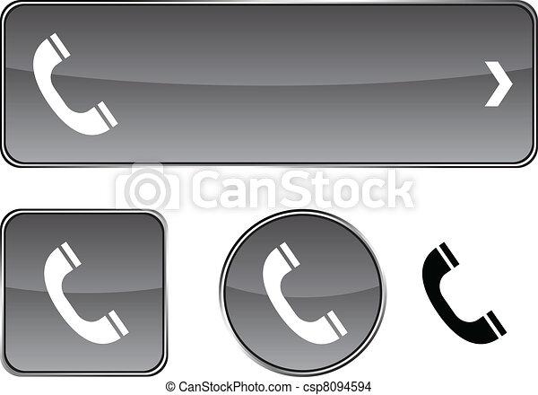 ボタン, 電話, set. - csp8094594