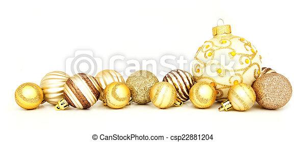 ボーダー, クリスマス, 金, 安っぽい飾り - csp22881204
