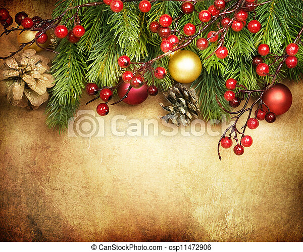ボーダー, デザイン, クリスマスカード, レトロ - csp11472906