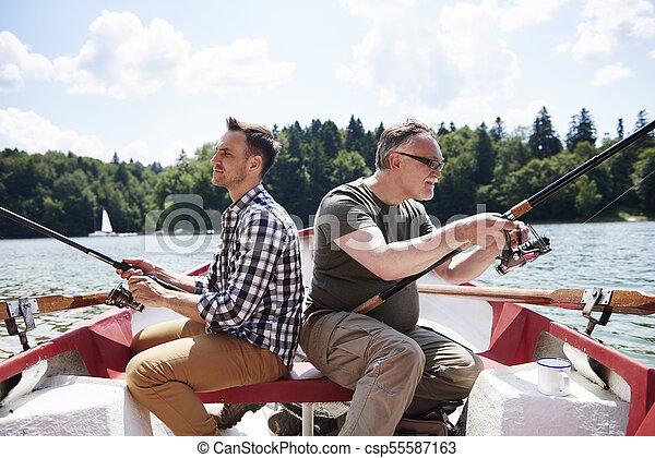 ボート, 男性, 集中される, 釣り - csp55587163